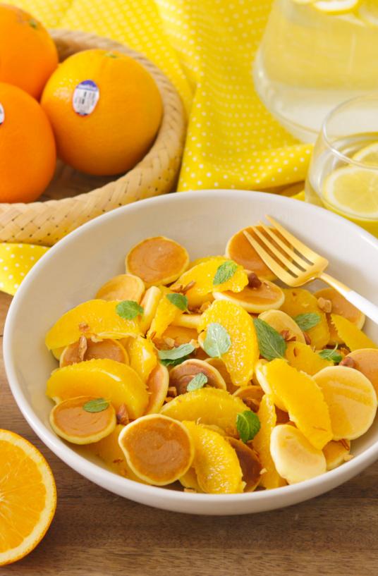 Orange cereal pancake